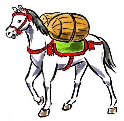米俵を担いで歩く白馬